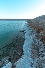 Lumps Of Salt On The Shoreline Of The Dead Sea, Sunset