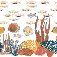 Vector Hand Drawn Aquarium Life Fishes Water Plants Border Seamless Pattern Print Background.