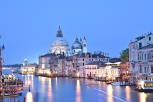 Santa Maria Della Salute By Canal At Dusk