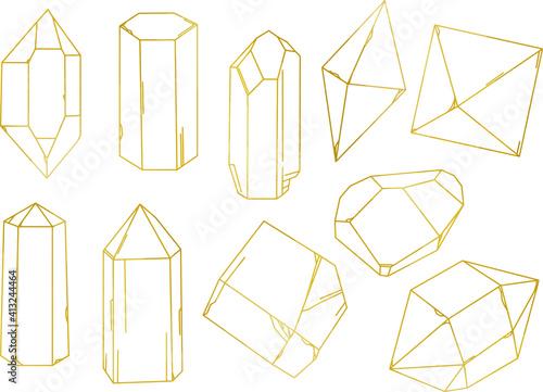 Billede på lærred 鉱物のゴールド線画セット