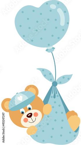 te baby boy teddy bear flying with blue heart balloon #413247247