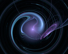 Abstract Cosmic Poster In Blue And Purple Colors. Liquid And Transparent Swirl Unwinding In Dark Far Space. Galaxy Sound And Music Artistic Representation. Fairy Shape, Matter Or Substance.