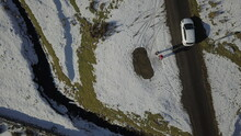 High Angle View Of Snow In Scotland