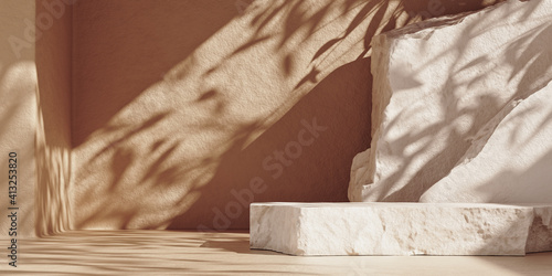 Obraz White pieces of stone slabs forming a product podium for product display. Mock-up for exhibitions or presentation of cosmetic products or packaging. 3d rendering. - fototapety do salonu