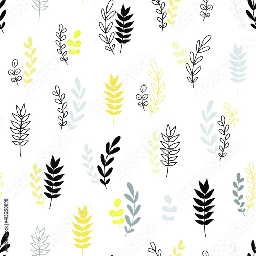 stylish-spring-seamless-pattern-with-yellow-branches-and-grey-leaves-in-pantone-2021-colors-vector-easter-pattern-in-and-ultimate-gray-trendy-colors