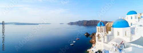 Slika na platnu white belfries Santorini island, Greece
