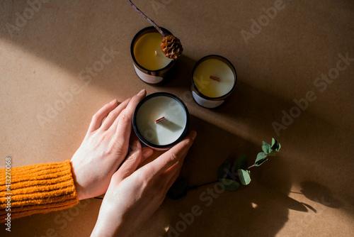 wooden wick candles Fototapeta