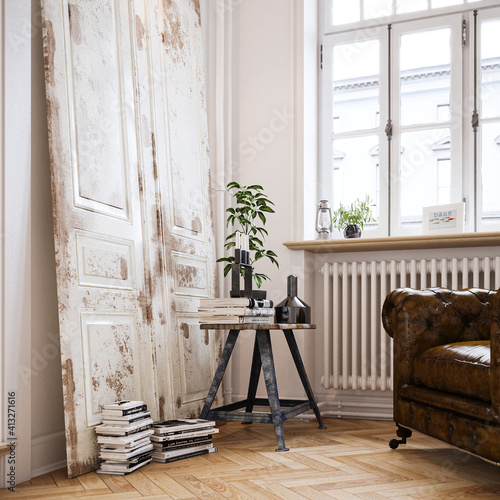 reading corner in old downtown vintage apartment © Christian Hillebrand