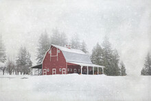 Original Textured Winter Photograph Of A Red Barn In The Snow