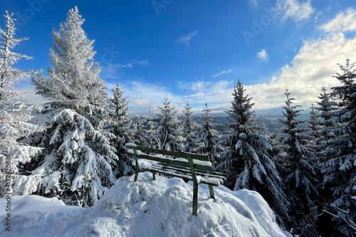Sitzbank im verschneiten Thüringer Wald © Henry Czauderna