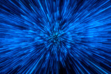 Speed Of Light In Space On Dark Background. Abstract Background In Blue, Yellow And Orange Neon Colors. 3D Rendering.