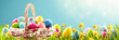canvas print picture Easter Eggs in a Basket on Green Grass and Sunny Spring Background