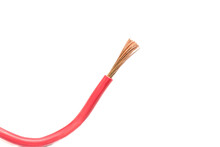Stranded Copper Wire With Red Markings On A White Background