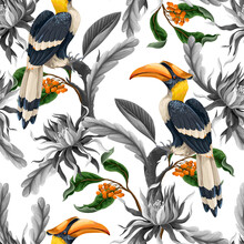 Seamless Pattern With Birds And Tropical Leaves And Flowers. Vector.