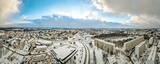 Jastrzębie Zdrój, przemysłowe miasto na Śląsku w Polsce zimą z lotu ptaka