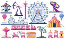 Amusement Park. Circus Festival Tent, Roller Coaster, Train, Ferris Wheel And Carnival Carousel. Kids Entertainment Park Vector Illustration. Rollercoaster Entertainment, Train And Festival Carnival