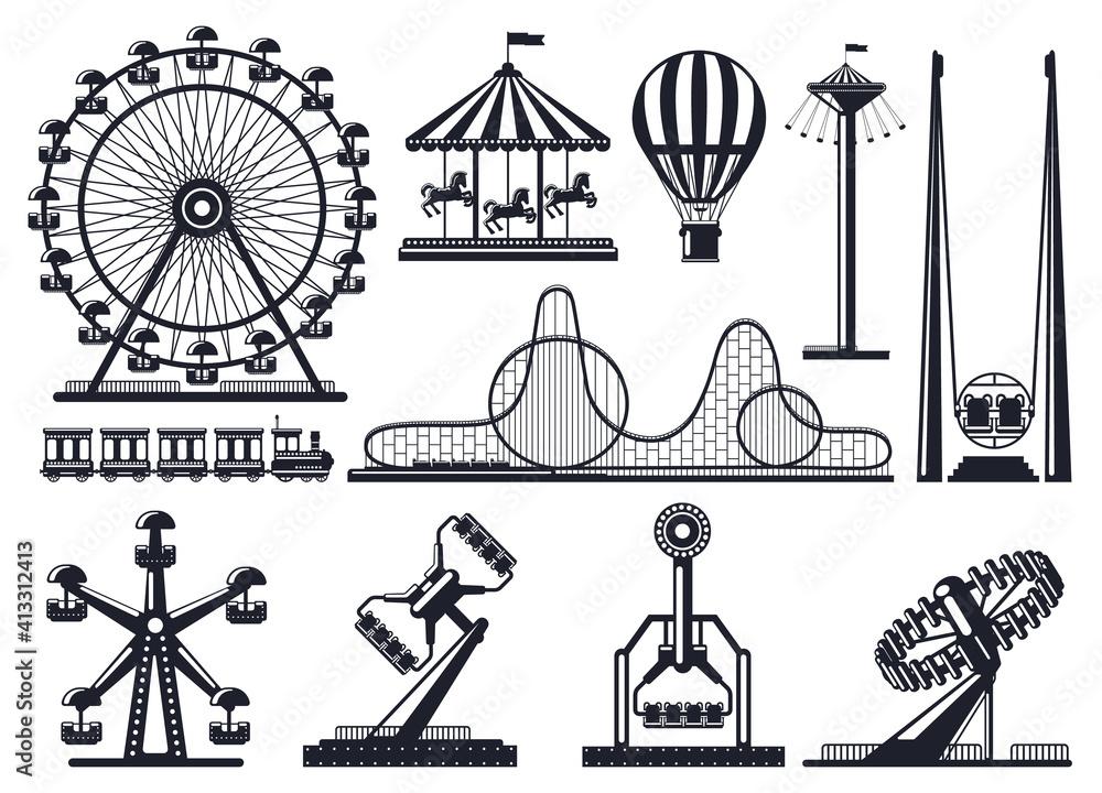Fototapeta Amusement park silhouette. Attractions festive park carousel and ferris wheel. Carnival park attractions silhouettes vector illustration set. Amusement entertainment, carousel and rollercoaster