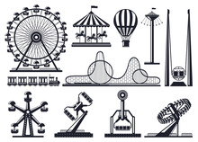 Amusement Park Silhouette. Attractions Festive Park Carousel And Ferris Wheel. Carnival Park Attractions Silhouettes Vector Illustration Set. Amusement Entertainment, Carousel And Rollercoaster