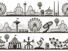 Amusement Park Views. Attractions Park Landscape Silhouettes With Ferris Wheel And Roller Coaster. Entertainment Park Silhouette Vector Illustration Set. Carousel And Roller, Swing Coaster