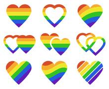 Lgbtq Rainbow Hearts. Pride Month Lgbtq Parade Heart Shape Flags, Transgender, Gay And Lesbian Community Vector Illustration Set. Pride Lgbt Pride Heart Flag Rainbow, Love Community Freedom