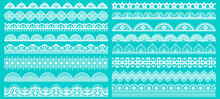 Vintage Lace Borders. Seamless Lace Borders For Wedding Decoration. Figured Retro Lace Pattern Elements Vector Illustration Set. Lacy Pattern Repeat, Scroll Decorate Gorgeous To Wedding Decoration