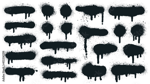 Obraz Spray paint shapes. Sprayed grunge dripping dots and borders, abstract graffiti spraying textured shapes vector illustration set. Paint splatter symbols. Dripping spraying textured, spatter texture - fototapety do salonu