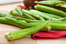 Several Okra Thrown On The Table