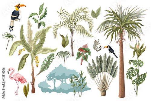 Fototapeta premium Jungle animals, flowers and trees isolated. Vector