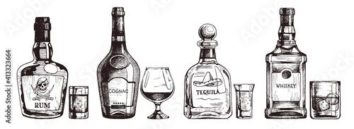 Fotografia Hand drawn set of alcoholic drinks