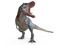T-Rex, Tyrannosaurus Rex, Head With Blood To The Right,  3D-Rendering