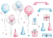 Big Set With Blue And Pink Ribbons, Colored Balloons, Gift Boxes, Hats, Confetti; Watercolor Hand Drawn Illustration; With White Isolated Background