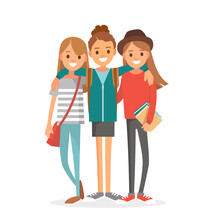 Group Of 3 Three Girlfriends, University Fellow Students Classmates, Buddies, Pals Standing Together Hugging Posing For Keepsake Photograph. Group Of Learners Young People. Vector Illustration. Flat