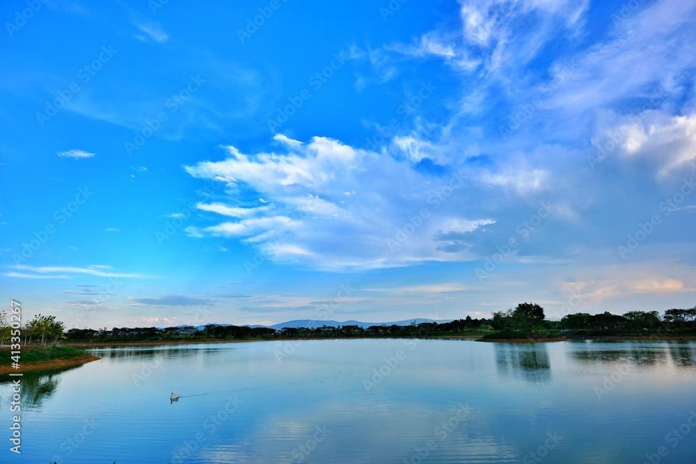 Fototapeta Scenic View Of Lake Against Blue Sky