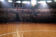 Empty Basketball Court. Sport Arena. 3d Render Background