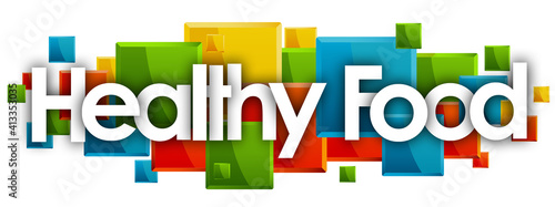 Canvas Print Healthy Food word in colored rectangles background