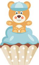 Cute Baby Boy Teddy Bear On Top Of Cupcake
