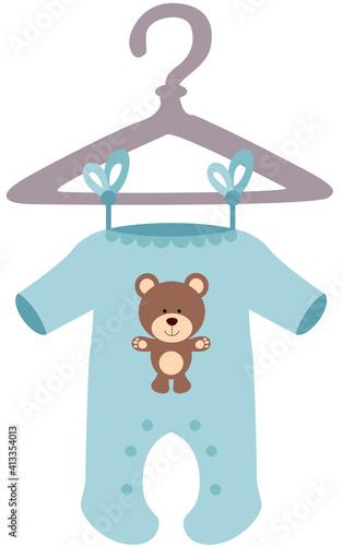 Blue baby bodysuit with teddy bear  #413354013