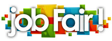 Job Fair Word In Colored Rectangles Background
