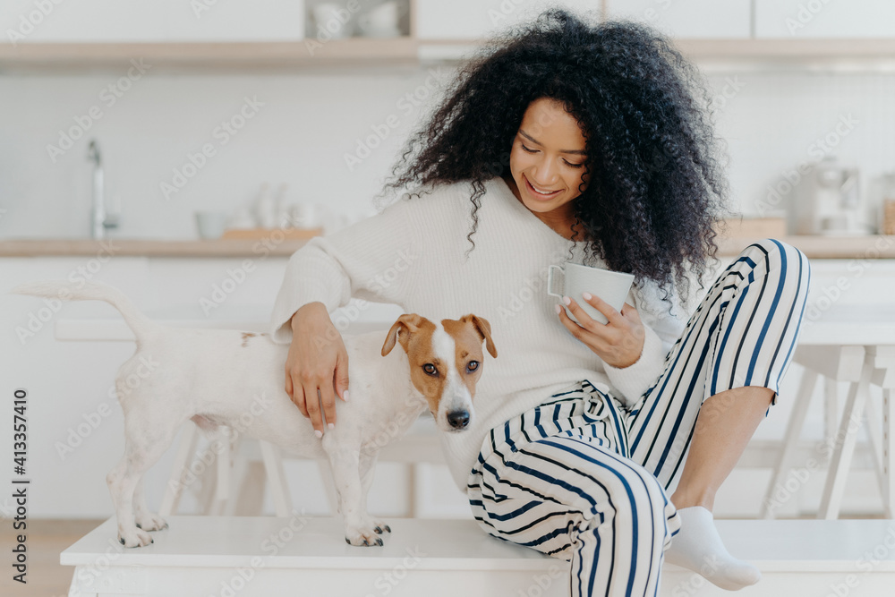 Fototapeta Smiling Young Woman With Dog At Home