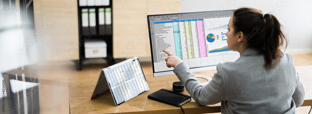 Fototapeta Woman Using Finance Spreadsheet Report