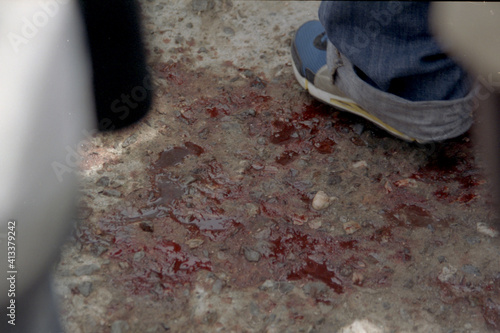Fototapeta Low Section Of Man Standing On Footpath obraz
