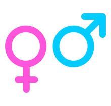 Gender Symbol Female And Male Set Icon. Outline Pink And Blue Vector Illustration Isolated On White Background.