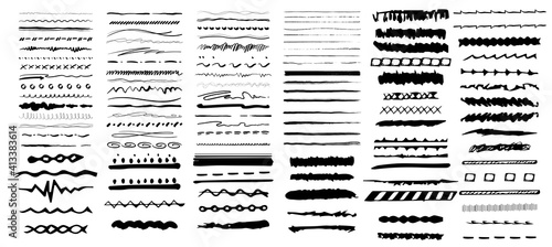 Fototapeta Set of artistic pen brushes. Vintage doodle underlines. Hand drawn grunge strokes. Scribble marker borders, sketch underlines. Vector illustration obraz