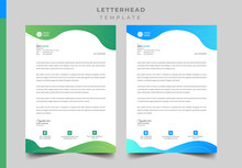 Corporate Letterhead Template Design With Tow Color Variation.