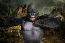 ジャングルで黒い毛並みの巨大なゴリラがドラミングをしながら険しい表情で威嚇をする