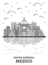 Outline Mexico City Skyline With Historical Buildings And Reflections Isolated On White.