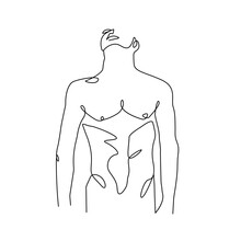 Continuous One Line Drawing Of Naked Male Figure. Man Body Nude Drawing. Nude One Line Abstract Portrait. Minimalist Design. Vector EPS 10.