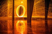 Wire Wool Underneath Bridge At Night