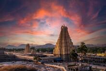 Virupaksha Temple Located In The Ruins Of Ancient City Vijayanagar At Hampi, Karnataka, India. Indian Tourism, Lockdown Trip