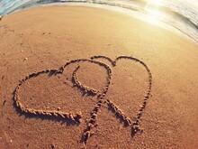 Heart On The Sand And Beach